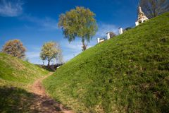 Green hills. Tver. Torzhok. Russian fields and hills in the middle zone of Russia stock photos