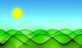 Green hills under sun. Abstract background with green hills under blue sky with sun Stock Photos