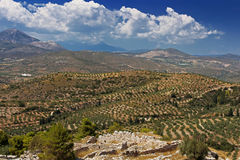 Green hills and valleys around the ruins of Mycenae, Greece Stock Images