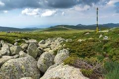 Green hills of Vitosha Mountain near Cherni Vrah Peak, Sofia City Region, Bulgaria. Beautiful green hills of Vitosha Mountain near Cherni Vrah Peak, Sofia City stock image