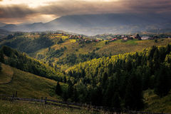Green hills. A walk in the Carpathian foothills Stock Photo