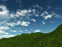 Green Hillside. A view of a grassy green hillside with a sky background Stock Photography