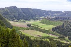Green hilly terrain on Sao Miguel island of Azores, Portugal. Typical hilly terrain near the Lake of Sete Cidades on Sao Miguel island of Azores Açores stock photos