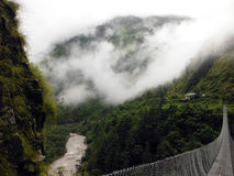 Green Himalayan Landscape with Suspension Bridge and River Stock Photos