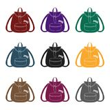 Green hippy backpack.Hippy single icon in black style vector symbol stock illustration web. Stock Photos