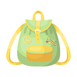 Green hippy backpack.Hippy single icon in cartoon style vector symbol stock illustration web. Royalty Free Stock Images