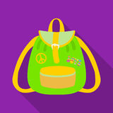 Green hippy backpack.Hippy single icon in flat style vector symbol stock illustration web. Stock Photography