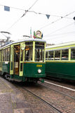 The green historic tram in Turin Royalty Free Stock Photos