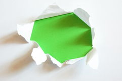 Green hole in blank sheet paper Royalty Free Stock Photo