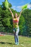 Green holi powder Stock Photo