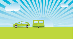 Green Holiday (Vector). Simplistic style car and caravan with a green theme heading on vacation. (Vector Royalty Free Stock Image