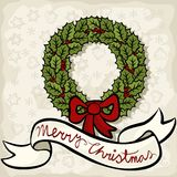 Green holly leaves wreath with wishes seasonal ill Stock Photography