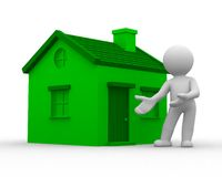 Green home. 3d human show a green home Stock Photos
