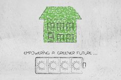 House made of leaves with greener future battery icon. Green home and ecology concept: house made of leaves with greener future battery icon Royalty Free Stock Photos