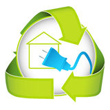 Green Home Electricity Icon Stock Image