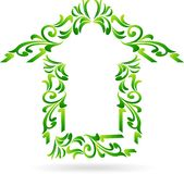 Green home floral on white background. Illustration of Green home floral on white background Royalty Free Stock Photos