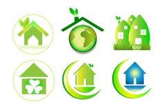 Green eco home house logo. Green house logo, circle home plant logo, house building, architecture, nature symbol icon design vector logotype Stock Photo
