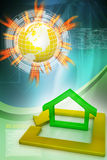 Green home icon in golden square Royalty Free Stock Photography