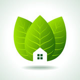 Green home icon on white background Stock Image