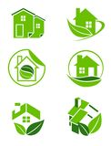 Green home icons Royalty Free Stock Images