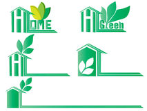 Green Home  icons set Stock Photos