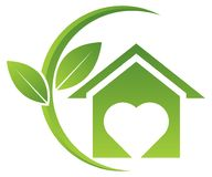Green home logo with leafs. Vector illustration of green home logo with leafs on white background Stock Image