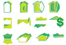 Green Home Logo Set. Green house logos with leaves and shadows Stock Photo