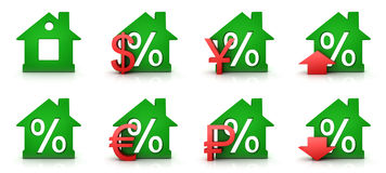 Green home percent Stock Images
