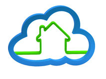 Green home sign with a cloud Stock Image