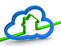 Green home sign with a cloud Stock Photos