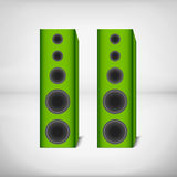 Green home speakers. Large green home speakers for stereo system, home theater, or computer Royalty Free Stock Photo