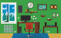 Green home work room. Royalty Free Stock Images