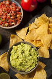 Green Homemade Guacamole with Tortilla Chips. And Salsa Stock Photography