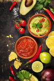 Green Homemade Guacamole with Tortilla Chips and Salsa Stock Image