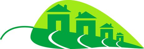 Green homes. In leaf shape line art work Stock Photography