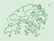 Green Hong Kong map with districts border lines on light background vector illustration. Green Hong Kong map with districts border lines on light background stock illustration