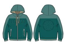 Green hooded sport sweatshirt with zip closure stock illustration