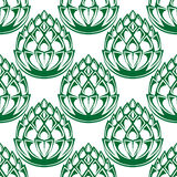 Green hop blooms seamless pattern Royalty Free Stock Photo