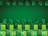 Green horizontal abstract background with ornament Stock Photo