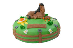 Green horse birthday cake Stock Image