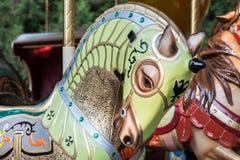 Green Horse. A green horse of a carousel in a park Royalty Free Stock Photos