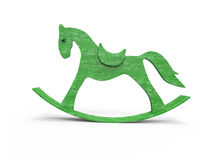 Green  horse toy  background. Green  horse toy on white background Stock Photos