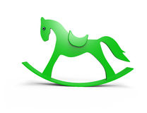 Green  horse toy. On white background Stock Images