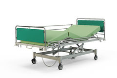 Green hospital bed with recliner and side guards Stock Photography