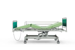 Green hospital bed with recliner and side guards. 3D illustration, isolated against a white background Royalty Free Stock Photography