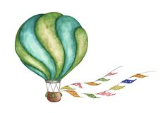 Green hot air balloon with flags garlands on white background. Watercolor