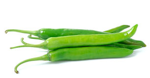 Green hot chili pepper on white background Stock Images