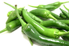 Green hot chili peppers Royalty Free Stock Photo