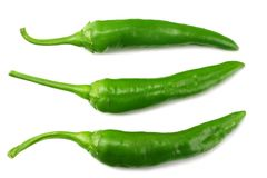 green hot chili peppers isolated on white background top view royalty free stock photos