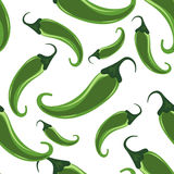 Green hot chili peppers seamless pattern Royalty Free Stock Image
